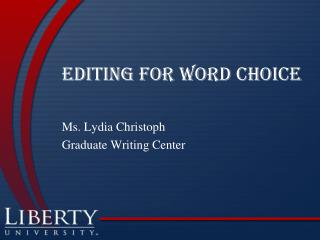 Editing for Word Choice