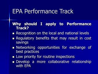 EPA Performance Track