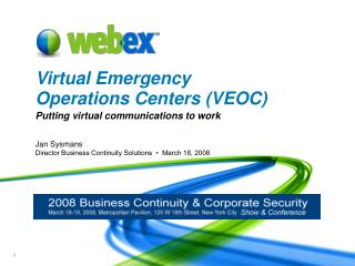 Virtual Emergency Operations Centers VEOC
