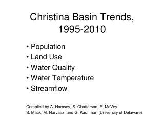 Christina Basin Trends, 1995-2010