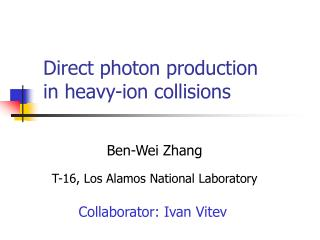 Direct photon production  in heavy-ion collisions