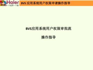 BVS 应用系统用户权限审批流 操作指导
