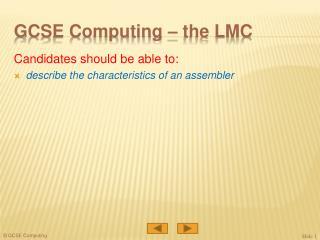 GCSE Computing – the LMC