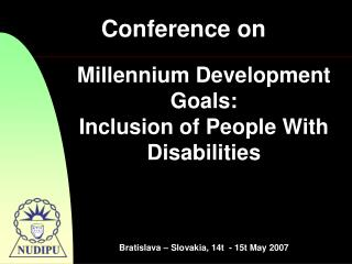 Millennium Development Goals: Inclusion of People With Disabilities