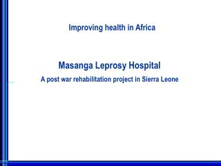 Improving health in Africa