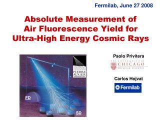 Absolute Measurement of       Air Fluorescence Yield for         Ultra-High Energy Cosmic Rays