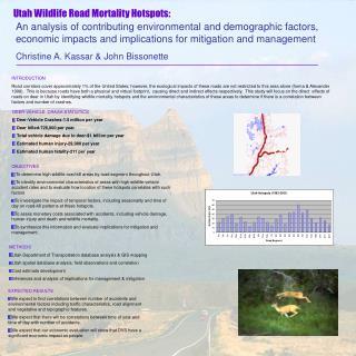 Utah Wildlife Road Mortality Hotspots: