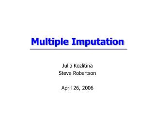 Multiple Imputation