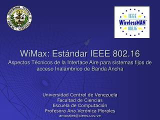 Universidad Central de Venezuela Facultad de Ciencias Escuela de Computación