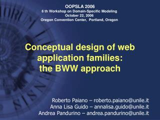 Conceptual design of web application families:  the BWW approach