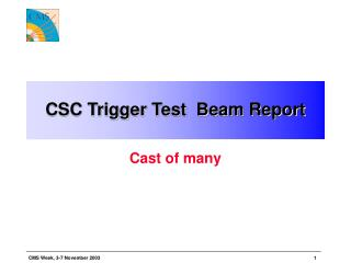CSC Trigger Test  Beam Report