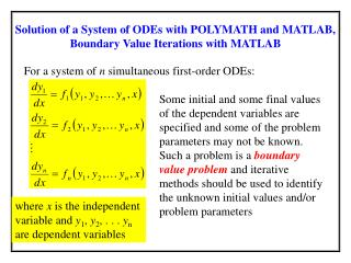Solution of a System of ODEs with POLYMATH and MATLAB, Boundary Value Iterations with MATLAB