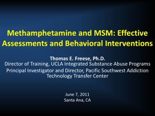 Methamphetamine and MSM: Effective Assessments and Behavioral Interventions