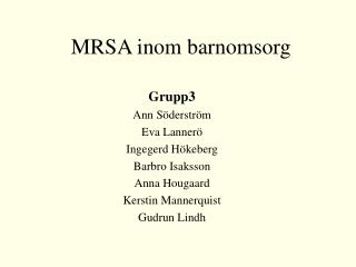 MRSA inom barnomsorg