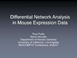 Differential Network Analysis in Mouse Expression Data