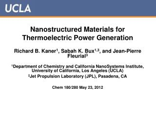 Nanostructured Materials for Thermoelectric Power Generation