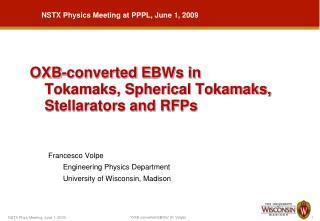 OXB-converted  E BWs in  Tokamaks, Spherical Tokamaks, Stellarators and RFPs