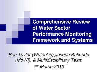 Comprehensive Review of Water Sector Performance Monitoring Framework and Systems