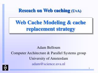 Reseach on Web caching  (UvA)