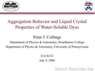 Aggregation Behavior and Liquid Crystal Properties of Water-Soluble Dyes