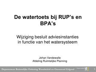 De watertoets bij RUP's en BPA's
