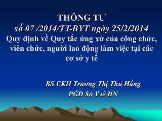 BS CKII Trương Thị Thu Hằng PGĐ Sở Y tế ĐN