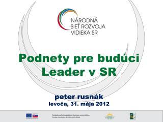 Podnety pre budúci Leader v SR  peter rusnák levoča, 31. mája 2012