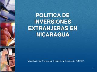 POLITICA DE INVERSIONES EXTRANJERAS EN NICARAGUA