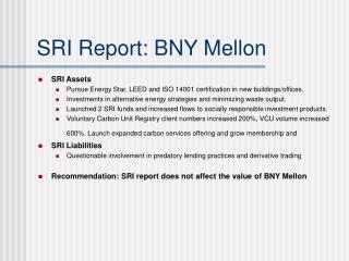 SRI Report: BNY Mellon