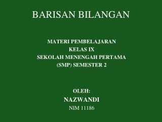 BARISAN BILANGAN