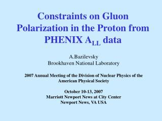Constraints on Gluon Polarization in the Proton from PHENIX A LL  data