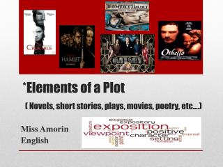 *Elements of a Plot ( Novels, short stories, plays, movies, poetry, etc….)