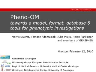 Pheno-OM towards a model, format, database & tools for phenotypic investigations