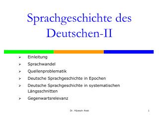 Sprachgeschichte des Deutschen-II