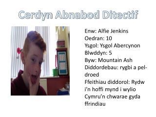 Enw: Alfie Jenkins  Oedran: 10 Ysgol: Ysgol Abercynon Blwddyn: 5 Byw: Mountain Ash