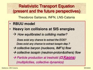 Relativistic Transport Equation (present and the future perspectives)