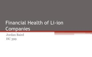 Financial Health of Li-ion Companies