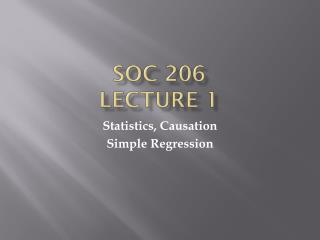 SOC 206  Lecture 1