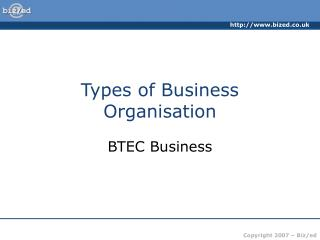 Types of Business Organisation