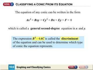 C LASSIFYING A  C ONIC  F ROM ITS  E QUATION