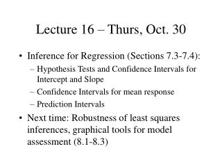Lecture 16 � Thurs, Oct. 30