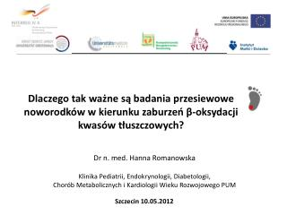 Dr n. med. Hanna Romanowska Klinika Pediatrii, Endokrynologii, Diabetologii,