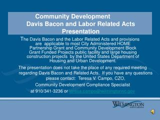 Community Development  Davis Bacon and Labor Related Acts Presentation