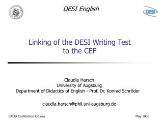 Linking of the DESI Writing Test  to the CEF