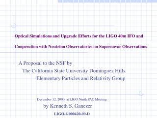 A Proposal to the NSF by The California State University Dominguez Hills