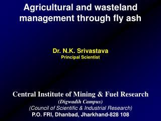Agricultural and wasteland management through fly ash Dr. N.K. Srivastava Principal Scientist