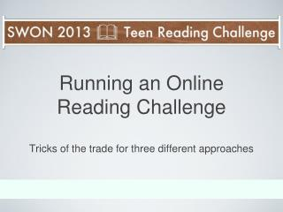 Running an Online  Reading Challenge