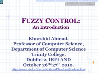 F UZZY  C ONTROL : An Introduction