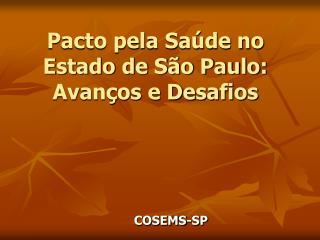 Pacto pela Sa�de no Estado de S�o Paulo: Avan�os e Desafios