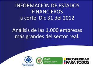 INFORMACION DE ESTADOS FINANCIEROS  a corte  Dic 31 del 2012 Análisis de las 1,000 empresas